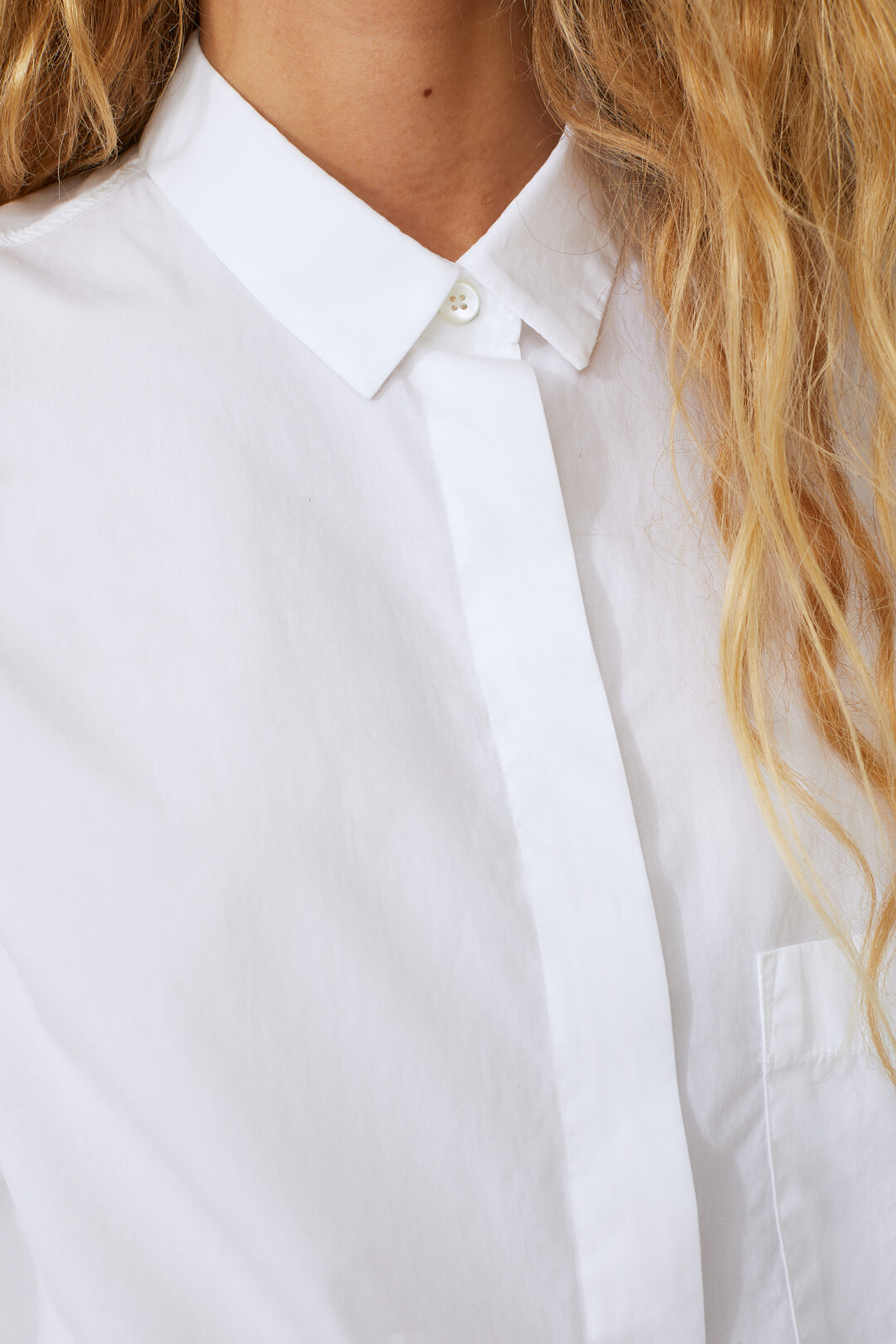Cotton Blouse with Concealed Button Border